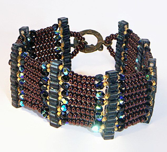 Bead Bracelet, Glass Beaded Bracelet, Brown, Black, Gold and Bronze Bracelet - pinned by pin4etsy.com