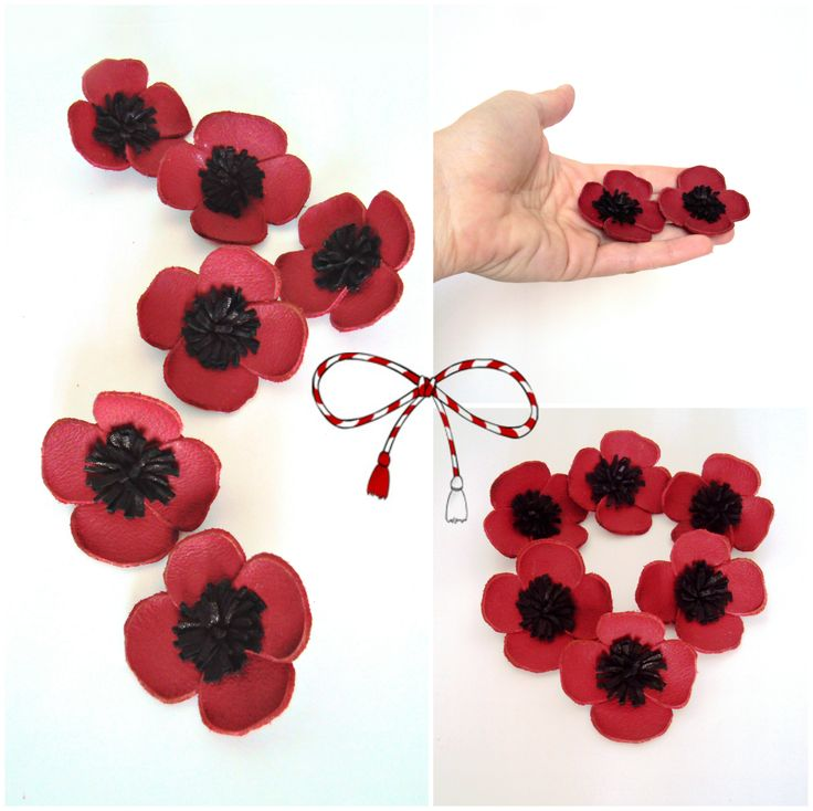 Leather poppy flower brooch, handmade by BijuBrill