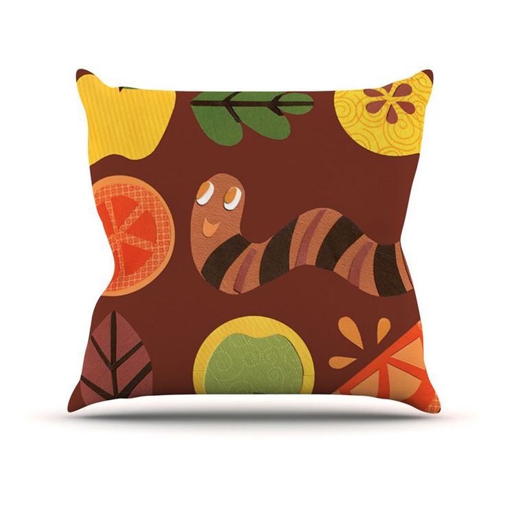 Kess InHouse Jane Smith Autumn Repeat Brown Bugs Indoor/Outdoor Throw Pillow - JS1013AOP0
