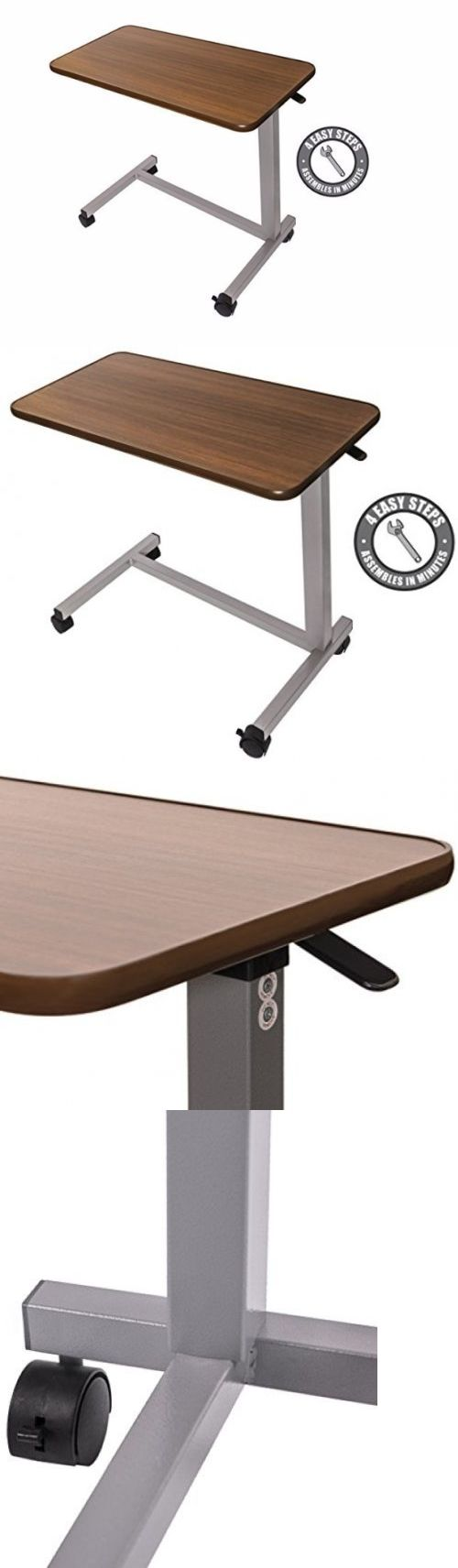 Bed and Chair Tables: Rolling Overbed Table Sofa Tray Adjustable Side Hospital Laptop Desk Non Slip -> BUY IT NOW ONLY: $75.67 on eBay!