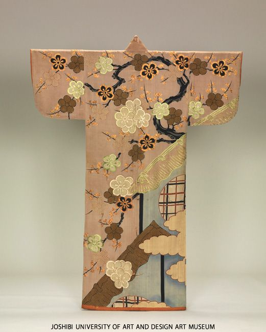 Kosode with blooming Japanese plum trees and circular windows. Period / Date  Edo period (1603-1868) 18th century. Medium  Paste-resist dyeing (yuzen), embroidery and printed freckled pattern on light-purple silk crepe (chirimen).  Museum collection