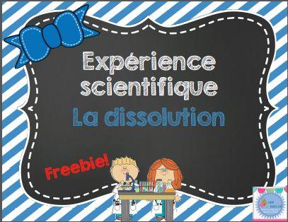 Freebie du lundi! Expérience scientifique La dissolution