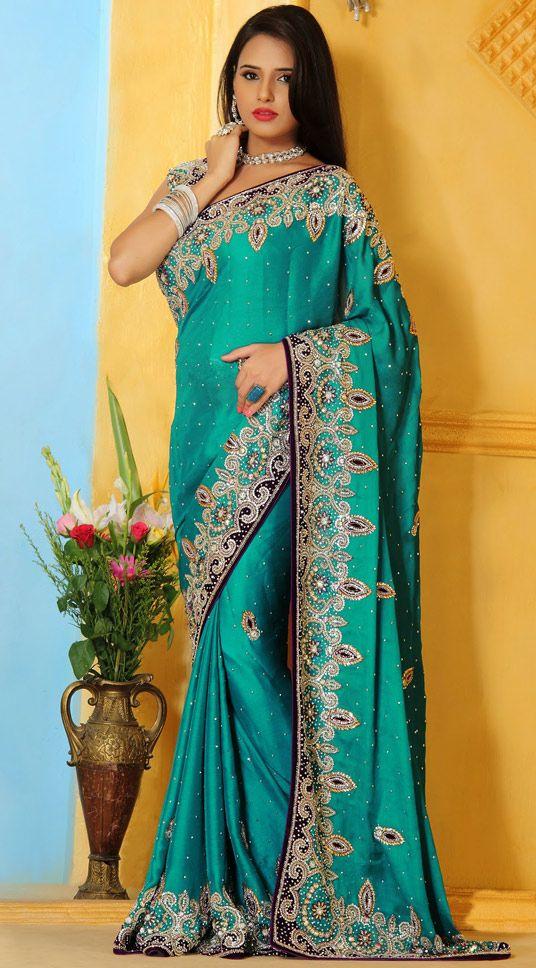 USD 233.57 Turquoise Satin Wedding Saree 48185