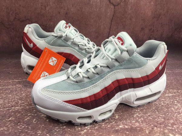 newest collection ee5a1 a2eb3 Men Nike Air Max 95 Essential White Wolf Grey Pure Platinum Team Red  749766-103