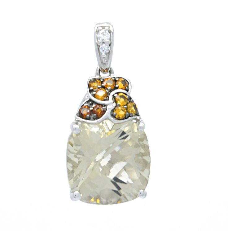 925 Sterling Silver Lima Quartz and Citrine Pendant with Silver Box Chain. 925 Silver Rhodium Plated Pendant. Lima Quartz / Citrine. 18 Inch Round Box Silver Chain Included. One year Defect Warranty. Gift Box Included.