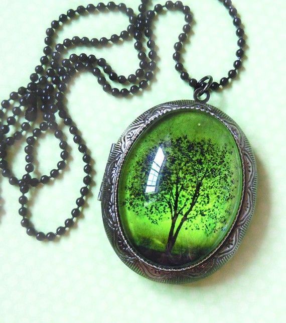 Emerald Bewitched -- Wearable Art Locket $40.00 #jewelry #necklace #locket #pendant #art #locket #cameo #handmade #tree #skies #gift #night #green #antique_silver #vintage #print