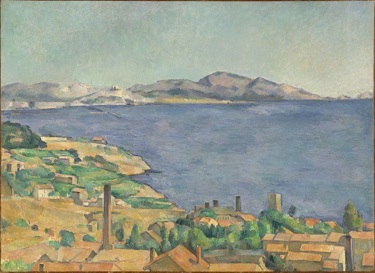 CEZANNE,1885 - Golfe de Marseille vu de l'Estaque - Gulf of Marseille seen from L'Estaque : « J'ai commencé deux petits motifs où il y a la mer, pour Monsieur Chocquet qui m'en avait parlé. – C'est comme une carte à jouer. Des toits rouges sur la mer bleue. Si le temps devient propice peut-être pourrais-je les pousser jusqu'au bout. En l'état je n'ai encore rien fait…. » (CEZANNE à Pissarro, L'Estaque, 2 juillet 1876)