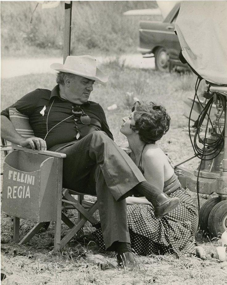 "Magali Noël & Fellini on the set of ""Amarcord"", 1973."