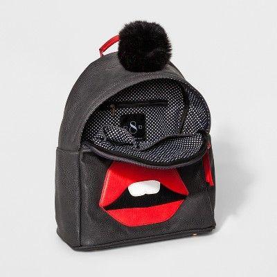 Under One Sky Big Lips Monster Backpack - Charcoal (Grey)