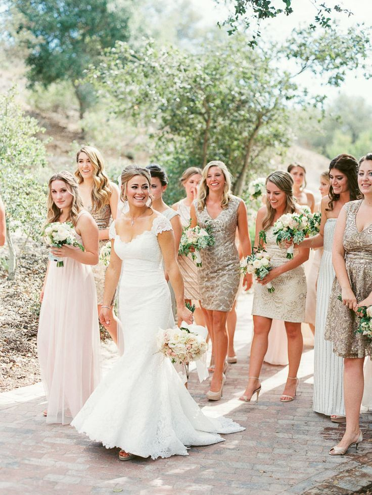 Bride with Mismatched Bridesmaid Styles in Silver Sequins