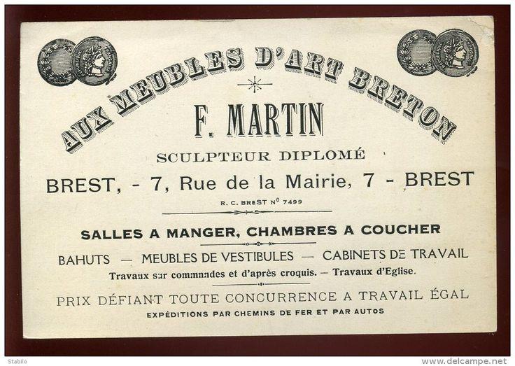 """BREST - MEUBLES D'ART BRETON """"F. MARTIN"""" SCULPTEUR - 7 RUE DE LA MAIRIE"""