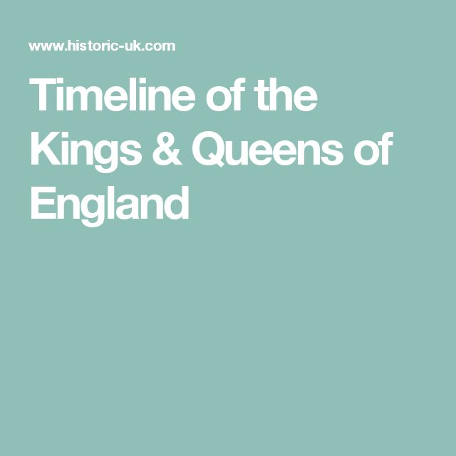 Timeline of the Kings & Queens of England