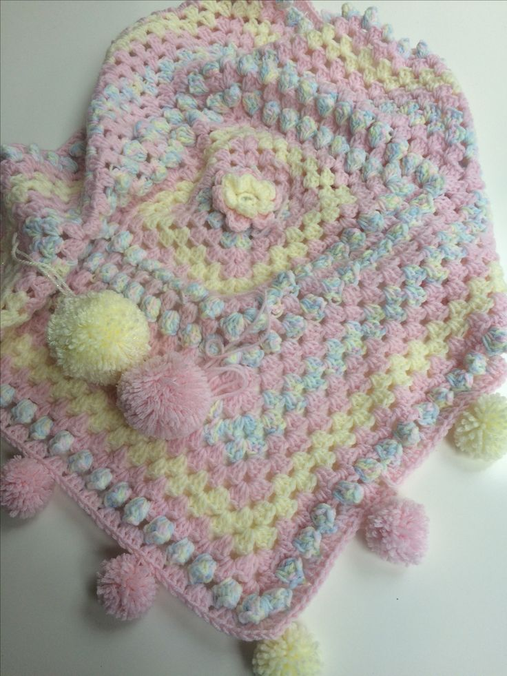 Pastel shades granny square baby blanket, just in time for Easter