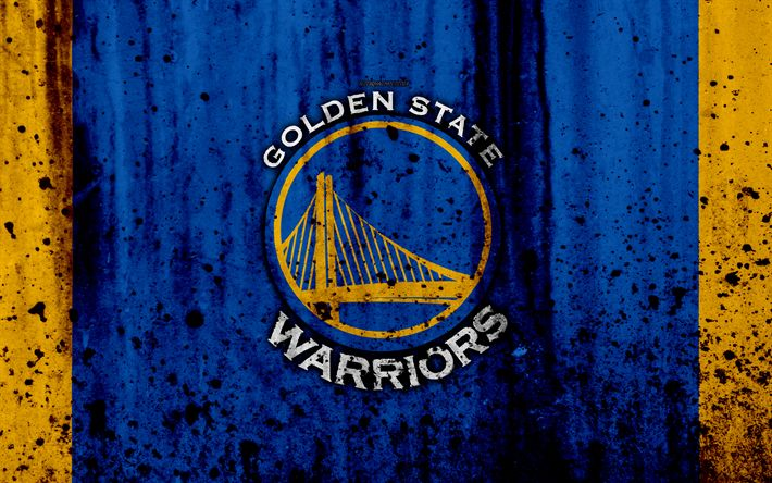 Download wallpapers 4k, Golden State Warriors, grunge, NBA, Dubs, basketball club, Western Conference, USA, emblem, stone texture, basketball, Western Division