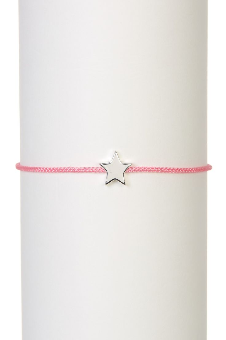 Sterling Silver Mini Star Charm Bolo Corded Bracelet