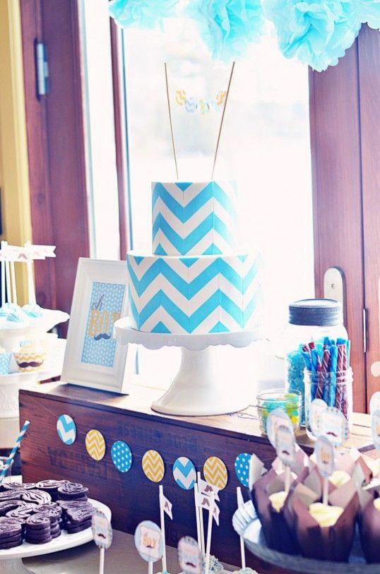 Chevron Cake + Chevron & Stache Party!