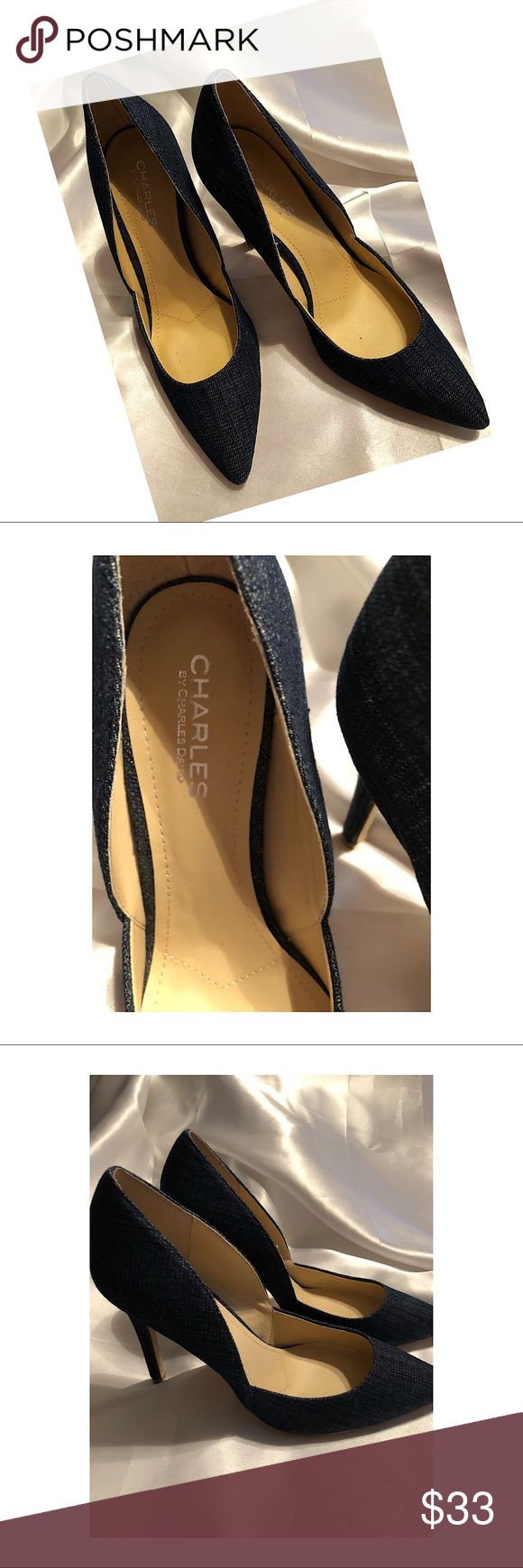 Charles David Denim Heels So cute with jeans. The tip of heel at toe point chipped but didn't affect the shoe and cannot be seen while wearing. See pic. Charles David Shoes Heels