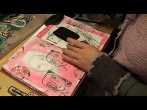▶ Art Journaling with Carved Stamp Print Blocks PART 5 with Milliande - YouTube