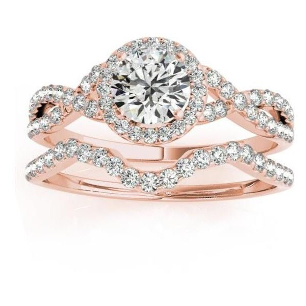 Allurez Twisted Infinity Engagement Ring Bridal Set 14k Rose Gold... ($1,545) ❤ liked on Polyvore featuring jewelry, rings, rose, twisted engagement ring, wedding band rings, wedding rings, rose gold ring and round cut engagement rings