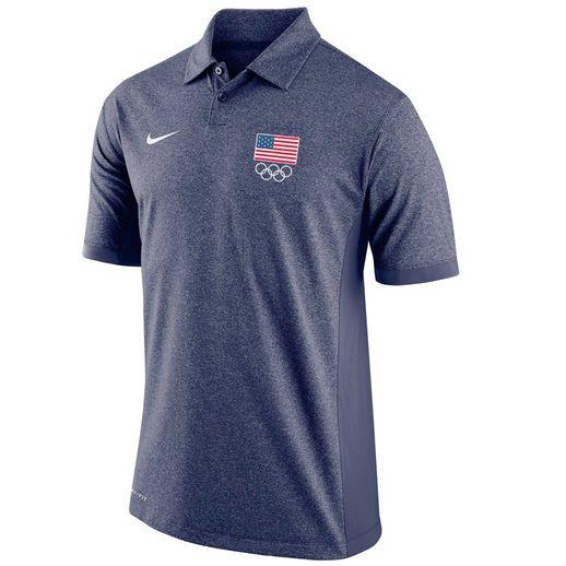 Nike Team USA Heathered Navy Flag 5 Rings Victory Block Performance Polo