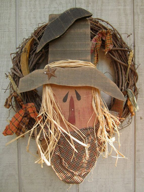 Country Primitive Wood Scarecrow Wreath Fall Home by LnMPrimitives, $28.00