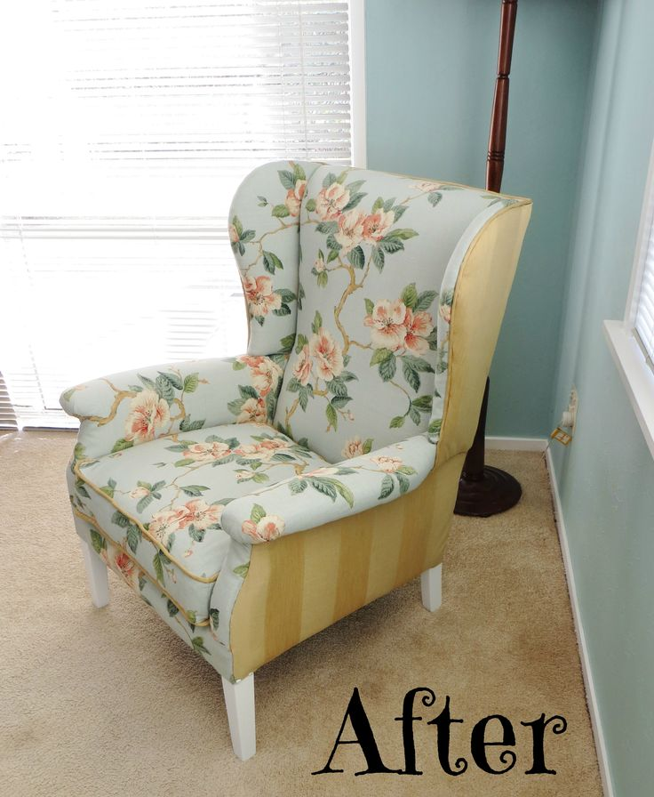 Revamped wing-back armchair at www.roseandsunday.co.nz
