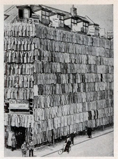In 1936, a clothier in Copenhagen, Denmark adopted a unique sales scheme. He erected a scaffolding around his store building and completely covered it from roof to sidewalk with more than a thousand overcoats. The novel display attracted prospective customers in such droves that police were summoned. Although the police ordered the proprietor to remove the display, he succeeded in selling all the overcoats.