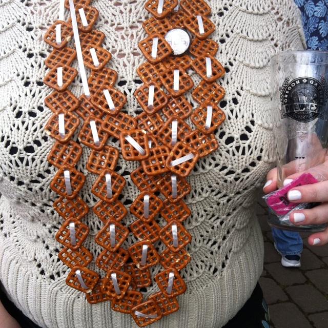 Pretzel necklace for brewfest snacking