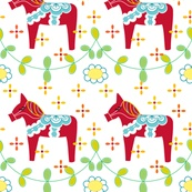 Red Dala with Branches fabric by carinaenvoldsenharris, via Spoonflower