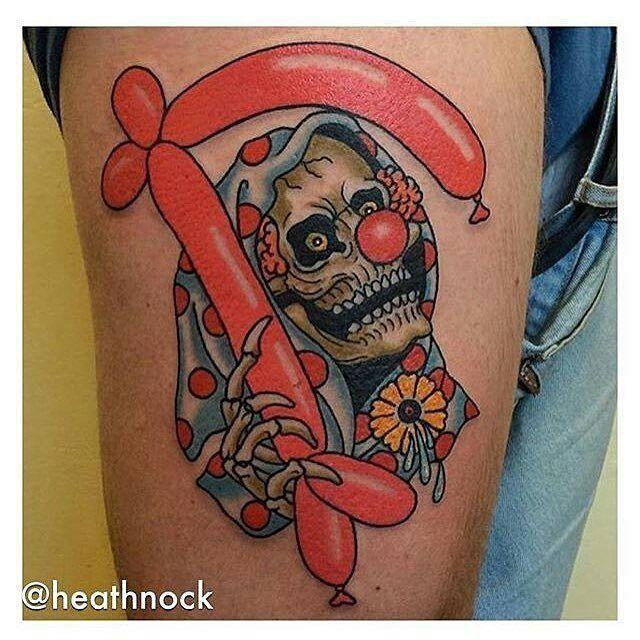 Reaper Clown tattoo by @heathnock at @hunterandfoxtattoo in Sydney Australia #heathnock #hunterandfoxtattoo #sydney #australia #grimreaper #grimreapertattoo #reaper #reapertattoo #clown #clowntattoo #tattoo #tattoos #tattoosnob