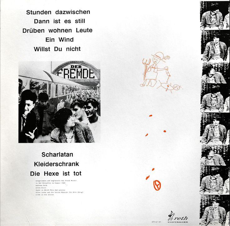 Der Fremde - daneben  Cover Rückseite, LP - 1989Achim Knorr, Andrea Kilian, Andreas Reth &Unterstützung von Frank Spilker u. Mirko Breder  ® reth Tonträger, 1989Design©Achim Knorr