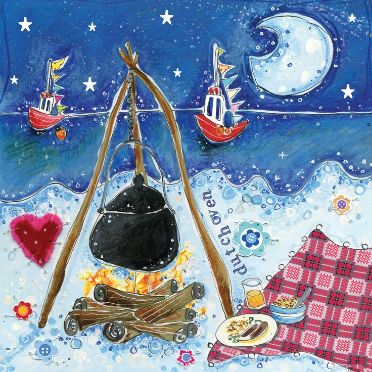 Beach Cooking (W346) Coastal Greetings Card by Susie Grindey http://www.thewhistlefish.com/product/beach-cooking-greeting-card-by-susie-grindey