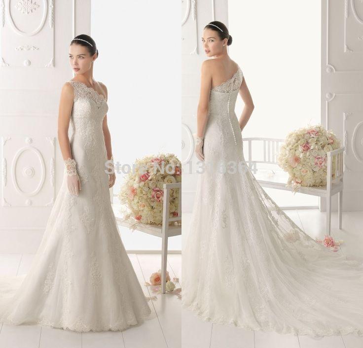 Одно плечо длинные свадебные платья! Смотрите через одно плечо кнопки назад платье классический дизайн элегантный русалка свадебные платья