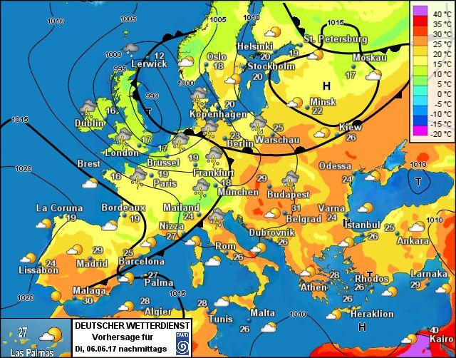 Wettervorhersage Europa - Wetterdienst.de