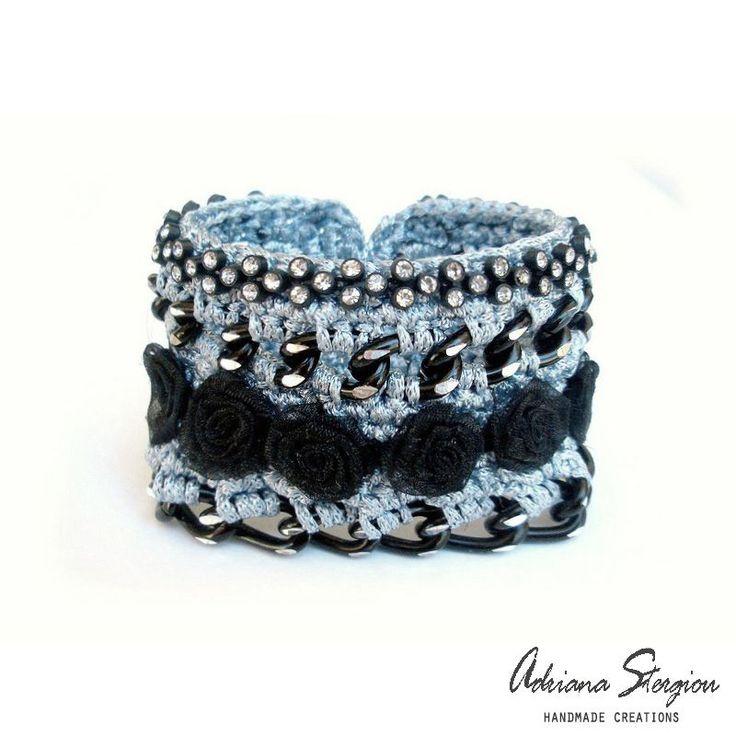crochet, chain, black roses & strass bracelet www.jewelmyday.eu