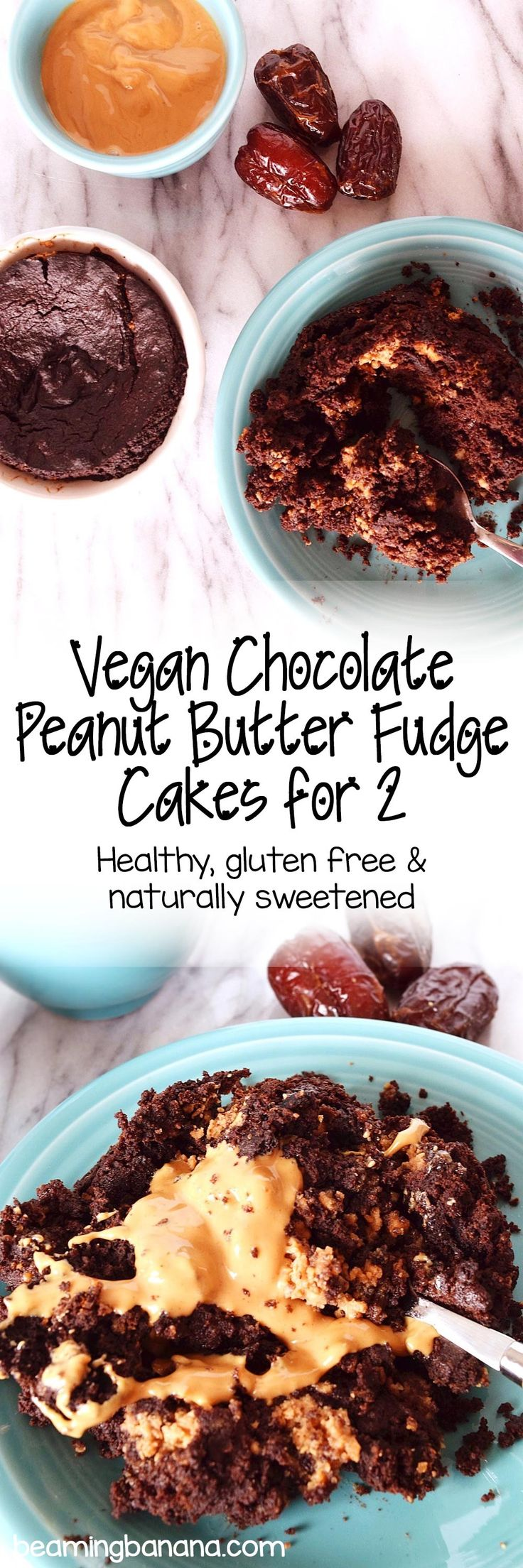 Rich chocolate cake with a fudgy peanut butter center! These vegan chocolate peanut butter fudge cakes are the perfect 2 person portion recipe! Plus, they're gluten free and refined sugar free.