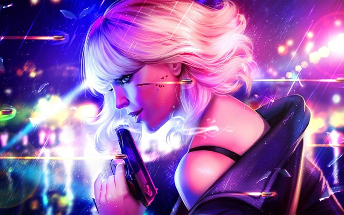 Download wallpapers Atomic Blonde, art, 2017 movie, thriller, Charlize Theron