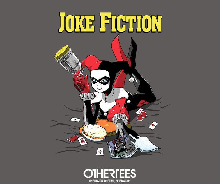 """Joke Fiction"" by metrokard T-shirts, Tank Tops, V-necks, Sweatshirts and Hoodies are on sale until March 13th at www.OtherTees.com #batman #harleyquinn #dc #dccomics #comics #tarantino #miawallace #pulpfiction #othertees"