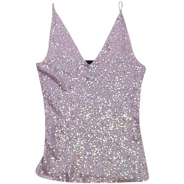 Pre-owned Donna Karan Lavender Sequin Cashmere Tank (2.248.165 VND) ❤ liked on Polyvore featuring tops, v neck tank top, purple tank, sequin tank, america tank top and v neck tank