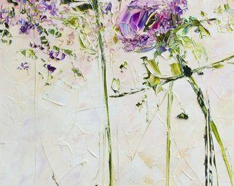 Paars Violet roze witte perzik Art origineel olieverfschilderij Impasto Paletmes bloemen schilderij pioen rozen Aster landschap bloemen Abstract
