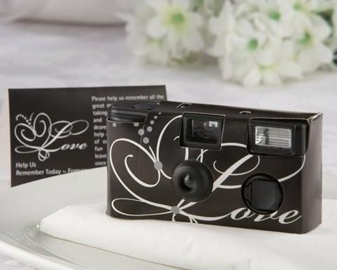 Love Disposable Wedding Camera w/Table Card BlackMix elegance and drama at your wedding reception or special event with this disposable camera featuring white script on black in original Love theme. These disposable wedding cameras engage your guests so y$3.55