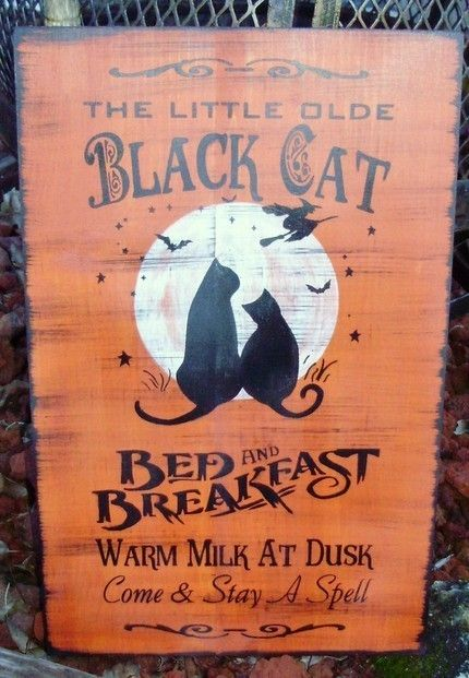 Black Cats Bed and Breakfast   Handpainted any colors and on sale this weekendHalloween Decorations, Cat Beds, Decor Primitives, Witches Kitchen, Folk Art, Black Cats, Kitchens Witches, Cat Halloween, Halloween Signs