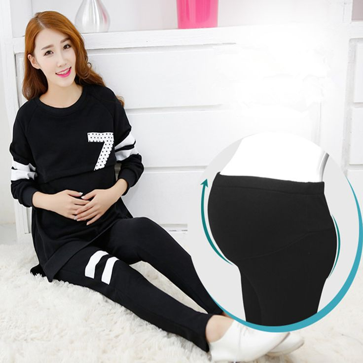 Maternity Women Clothing Nursing Breastfeeding Clothes Pregnant Women Long Sleeve Tops+Pants Plus Size Maternity Pajamas Set