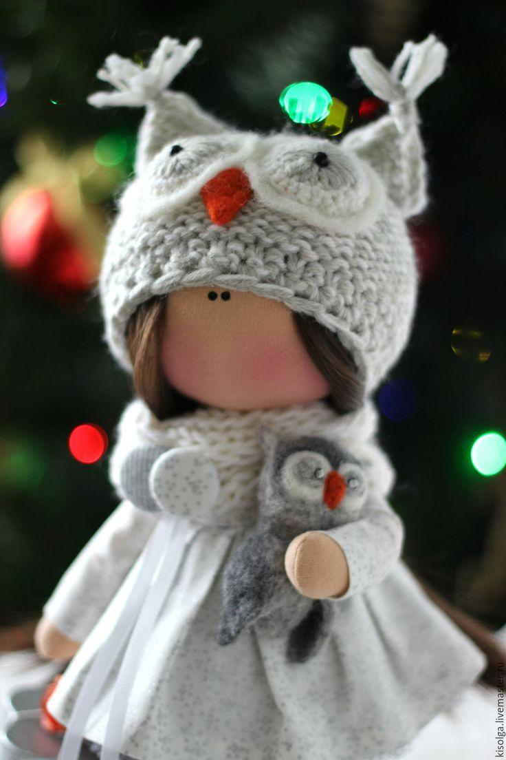 Купить Совушка - серый, сова, мудрые совы, интерьерная кукла, интерьер, детская комната