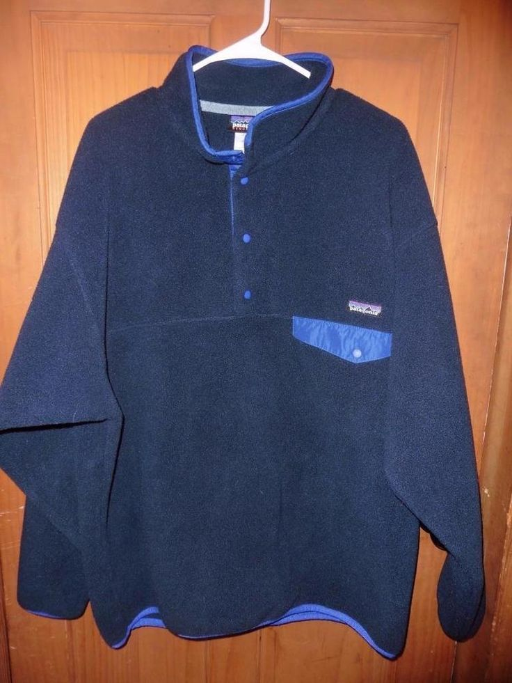 Pantagonia mens sz XL dark blue synchilla pull over jacket sweater sweatshirt #Patagonia #Pulloversnapneck