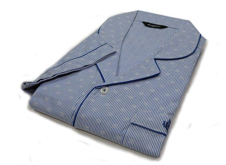 PIJAMA CLÁSICO GUASCH, tipo camisero en manga corta, con botones y bolsillo. Envivado en tono azul a juego. Nuevos modelos en varelaintimo.com