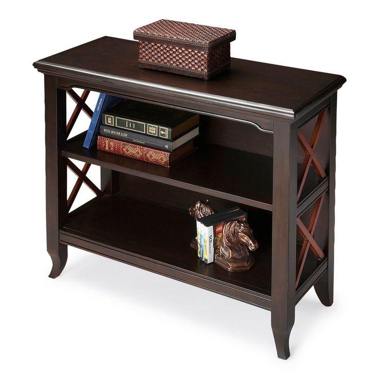 Newport Transitional Rectangular Low Bookcase Multi-Color