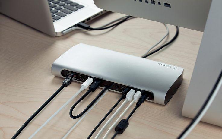 Station d'accueil Thunderbolt:  Solution simple et performante pour profiter de la technologie Thunderbolt™. Transfert de données à haut débit (20 x plus rapide que l'USB2). Possibilité de connecter jusqu'à 8 périphériques y compris FireWire, Ethernet et USB. Réf. F4U055cwAPL. http://www.exertisbanquemagnetique.fr/info-marque/belkin #Belkin #StationAccueil #Thunderbolt