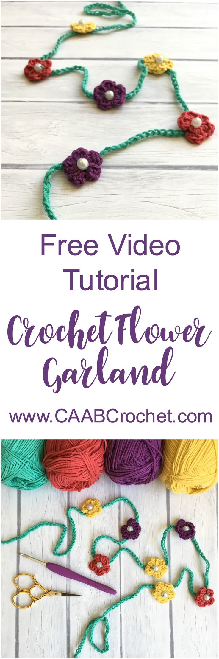 In this beginner-friendly video tutorial, you will learn to make a simple crochet flower garland, using basic crochet stitches and beads. The pattern is easy to adjust for sizing preferences. Great for anything from a girl's headband to a decorative piece for your home!