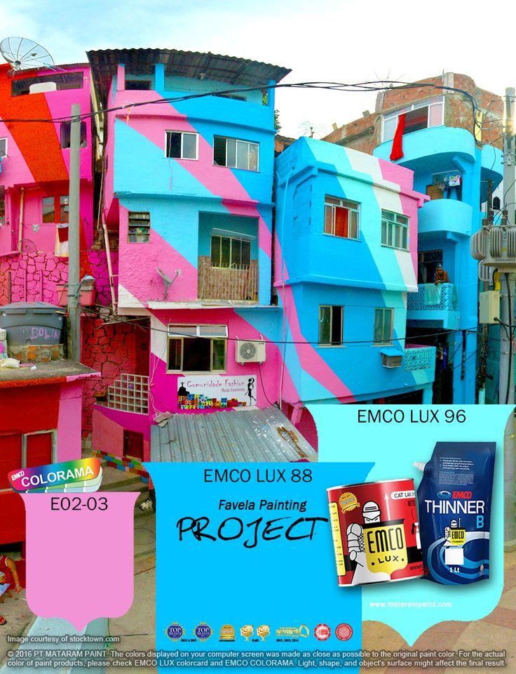 Kawan EMCO, Favela yang kumuh telah berubah menjadi galeri yang raksasa dengan seni bercita rasa tinggi. Terinspirasi dari Favela Painting, Anda bisa menghadirkan warna–warna cerah di rumah Anda . Percantik rumah Anda dengan cat pilihan warna EMCO LUX 88, EMCO LUX 96 dan E02-03 pada palet EMCO. Untuk artikel menarik lainnya silakan cek di http://matarampaint.com/news.php.
